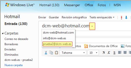 enviar correos desde hotmail
