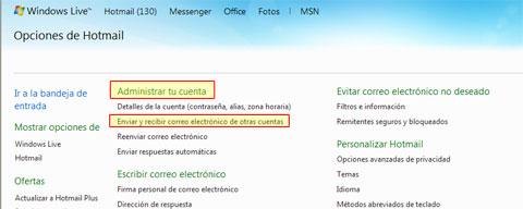 enviar y recibir correos desde hotmail
