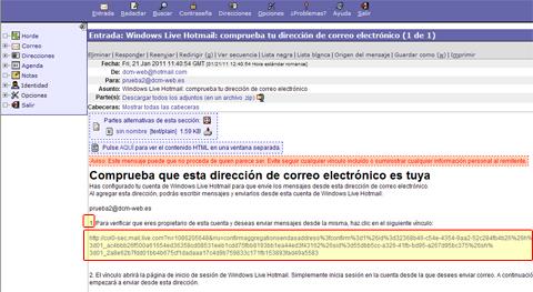 validación en webmail de hotmail
