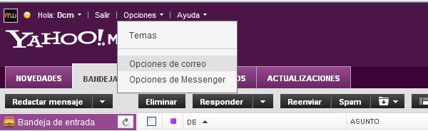 opciones de correo electrónico en yahoo