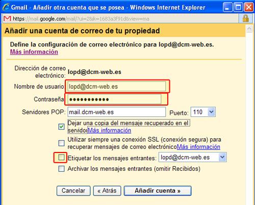 Datos de tu cuenta de correos