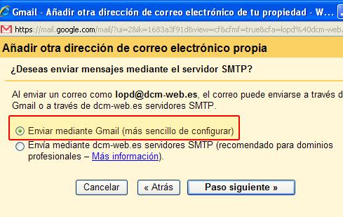 Configuración cuenta de correos