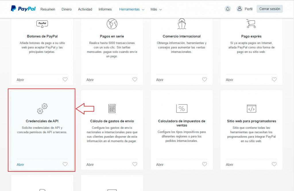 credenciales API de paypal
