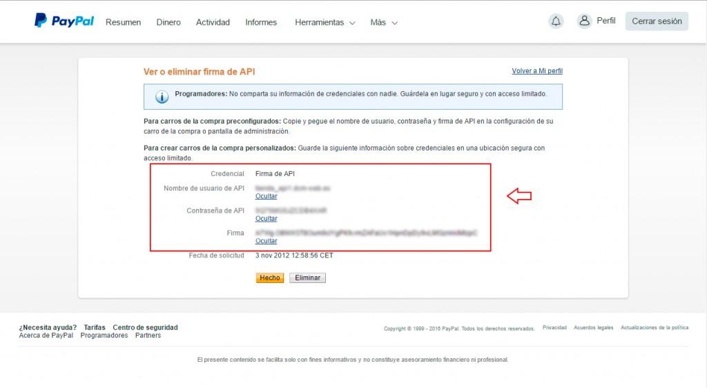 firma de API de paypal